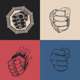 The set of four images with fists Stock Photo