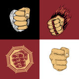The set of four images with fists Royalty Free Stock Images