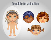 Set of four images of girls for animation Stock Photo