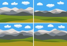 Set of four images with natural cartoon landscapes in the flat style. With blue sky, clouds, hills and mountains. Vector illustration vector illustration