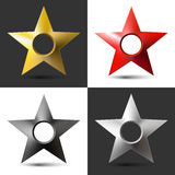 Set of four images realistic volumetric star with hole and shadow Royalty Free Stock Image