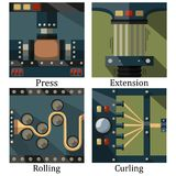 A set of four images of technological processes: pressing Stock Photo