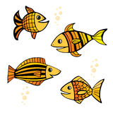 Set of four isolated hand drawn colored yellow and orange fishes with black outlines on white background. Set of four isolated hand drawn colored yellow and Stock Image