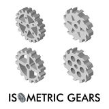 Set of four isometric gears isolated on a white background. Isometric vector illustration. Stock Photos