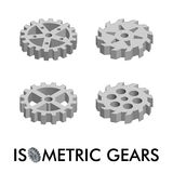 Set of four isometric gears isolated on a white background. Isometric vector illustration.  Royalty Free Stock Photography
