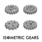 Set of four isometric gears isolated on a white background. Isometric vector illustration. Set of 3D icons Royalty Free Stock Photo