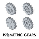 Set of four isometric gears Royalty Free Stock Photography