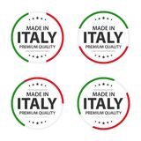 Set of four Italian icons, English title Made in Italy, premium quality stickers and symbols royalty free stock photo