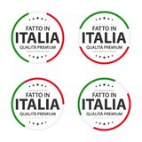 Set of four Italian icons, Italian title Made in Italy, premium quality stickers and symbols. Simple vector illustration isolated on white background royalty free illustration