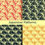 Set of four japanese patterns Royalty Free Stock Images