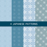 Set of Four Japanese Patterns. Vector - Set of Four Japanese Patterns Royalty Free Stock Photography