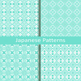 Set of four japanese patterns. Vector set of four traditional blue japanese patterns Royalty Free Stock Photo