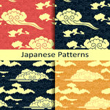 Set of four japanese traditional cloudy patterns Stock Photography