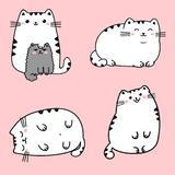 Set of four kawaii cute fat white cats in different poses. vector illustration