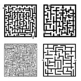 Set of four labyrinths. Illustrated on white background Royalty Free Stock Images