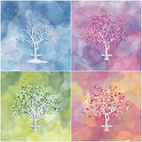 Set of four landscapes with abstract trees Stock Photo