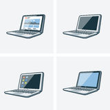Set of four laptop illustrations. Set of four isolated laptop icon illustration in cartoon style with different desktop background Royalty Free Stock Photography