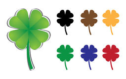 Set of four-leaf clover Stock Photo