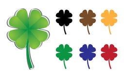 Set of four-leaf clover. Illustration Stock Photo