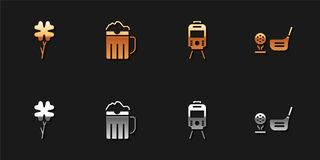 Set Four leaf clover, Wooden beer mug, Tram and railway and Golf club with ball on tee icon. Vector