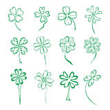 Set of 12 four leaf clovers Stock Photo