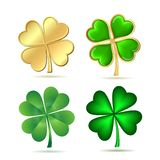 Set of four-leaf clovers isolated on white. St. Patrick's day symbol. Vector illustration Royalty Free Stock Photo