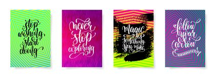Set of four lettering positive quotes posters. On bright abstract geometric pattern, calligraphy vector illustration collection Stock Images