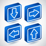 Set of four lighting blue buttons with arrows Royalty Free Stock Photography