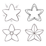 Set of four line stars in various designs, on white background. Royalty Free Stock Photography