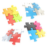 Set of four linked jigsaw puzzle pieces isolated Stock Image