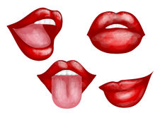 Set of four lips Royalty Free Stock Images
