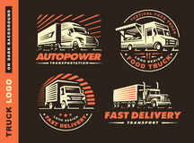 Set of four logo with truck and trailer. On dark background stock illustration
