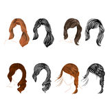 Set of four long  hair natural and silhouette Vector Stock Photography