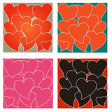 Set of four love heart backgrounds Stock Photography