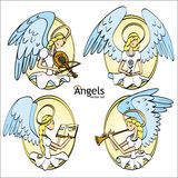 Set of Four Lovely Cartoon Style Angels Stock Photos
