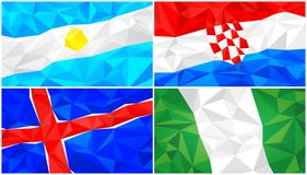 Low poly flag, abstract polygonal triangular background set 4. Set of four low poly flags, abstract polygonal background for design of national design stock illustration