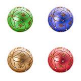Set of four Luxurious christmas balls Stock Photos