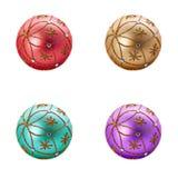 Set of four Luxurious christmas balls Royalty Free Stock Photo