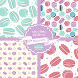 Set of four macaroon seamless patterns. Macaroon vector illustration on white background for web, mobile and print Royalty Free Stock Photo