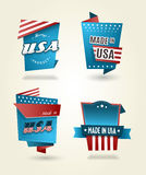Set of four Made in USA labels. Stock Images