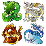 Set four majestic Asian color dragon. Set of four Asian east dragons of different flowers and elements on the Chinese horoscope. Playful green wood monster Royalty Free Stock Image