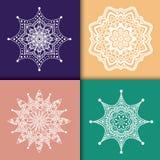 Set of four mandala pattern vector illustration