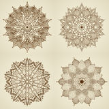 Set of four mandalas. Beautiful flowers. Royalty Free Stock Images
