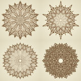 Set of four mandalas. Beautiful flowers. Stock Photo