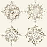 Set of four mandalas. Beautiful hand drawn flowers. Ethnic lace round ornamental pattern. Can be used to fabric design, decorative paper, web design Royalty Free Stock Photo