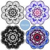Set of four mandalas. Colored decorative Mandala. Oriental pattern in blue and purple royalty free illustration
