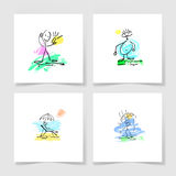 Set of four marker hand drawing sketch doodle human stick figure. And paint colored spot on a pieces blank sheet of white paper with the shadow for your design Royalty Free Stock Photography