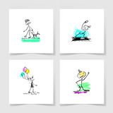 Set of four marker hand drawing sketch doodle human stick figure. And paint colored spot on a pieces blank sheet of white paper with the shadow for your design Stock Photos