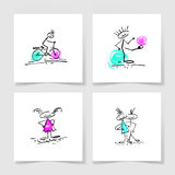 Set of four marker hand drawing sketch doodle human stick figure. And paint colored spot on a pieces blank sheet of white paper with the shadow for your design Royalty Free Stock Photos