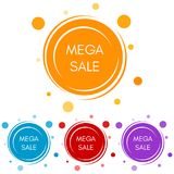 Set of four mega sale stickers with abstract colorful geometric forms. Vector illustration Royalty Free Stock Image